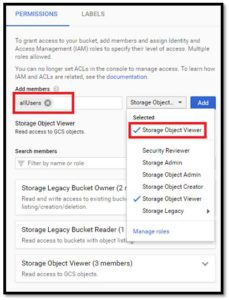 Google Cloud - Permissions of Bucket