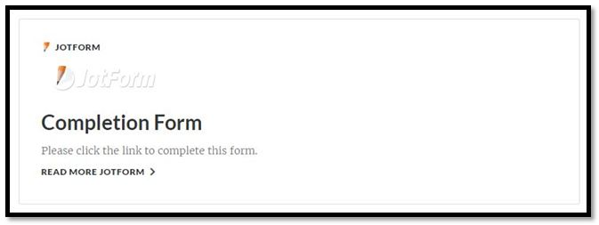JotForm Completion Form