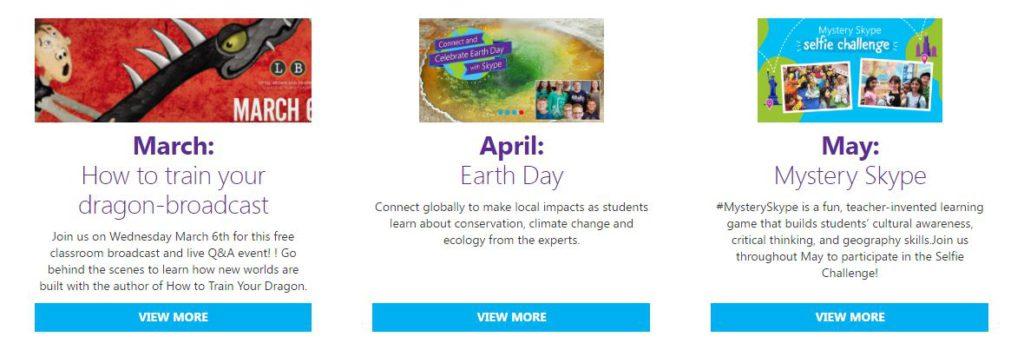 Skype - Calendar of Events