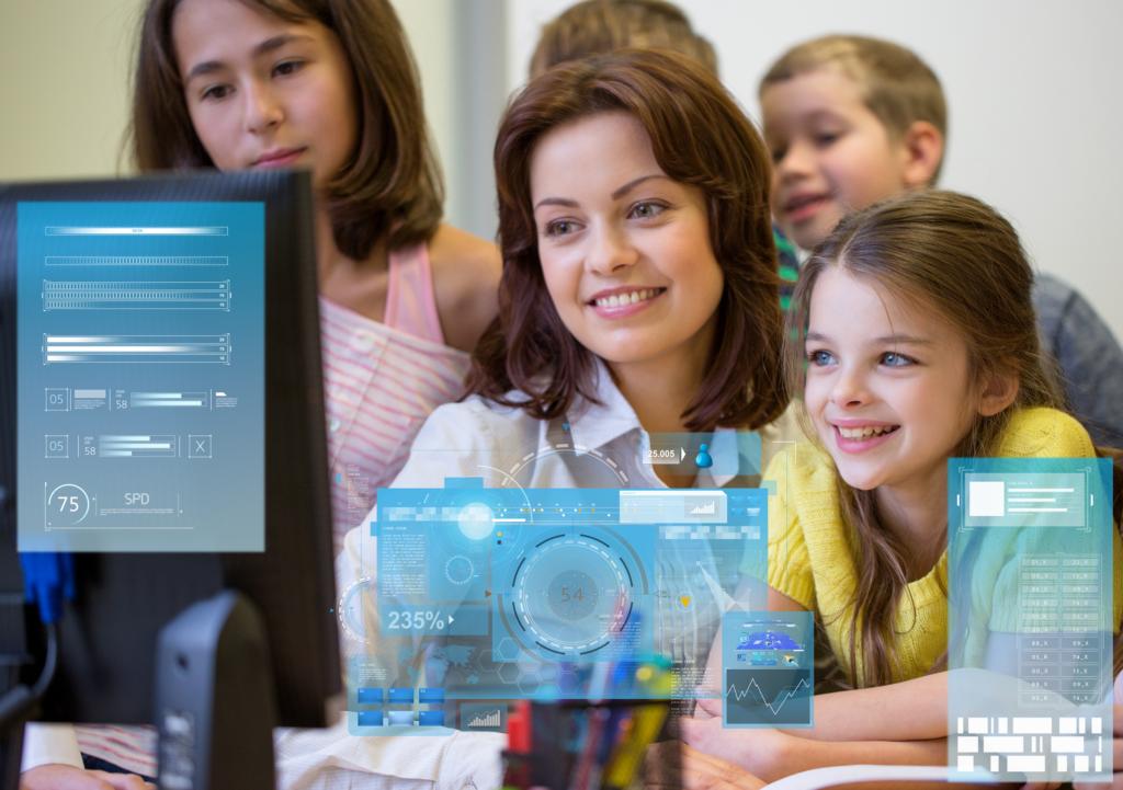 Educator using computer